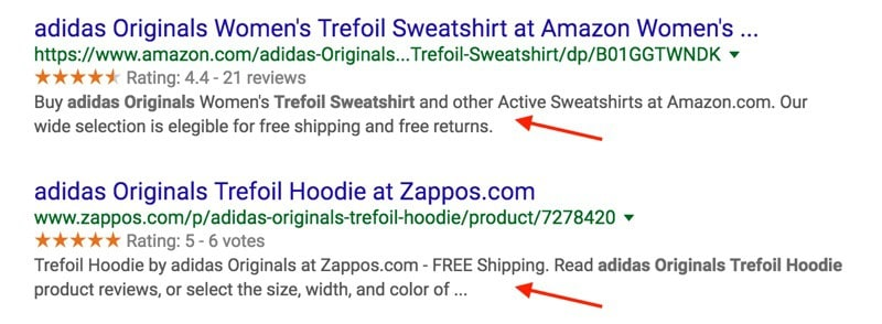 Optimized Product Descriptions in SERPS