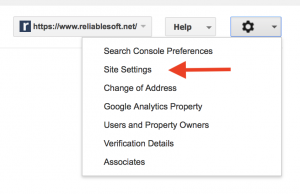 site settings google search console