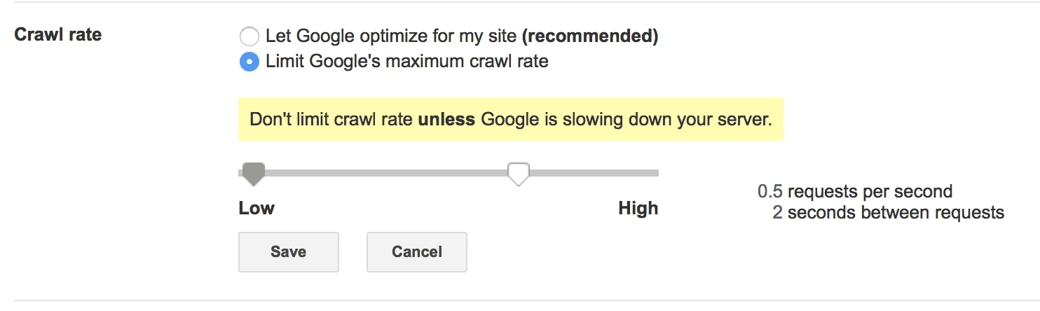 Google Crawl rate setting in Google Search Console