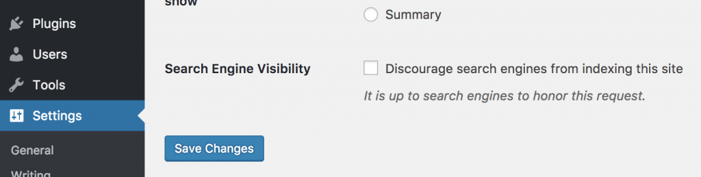Search Engine Visibility Settings WordPress