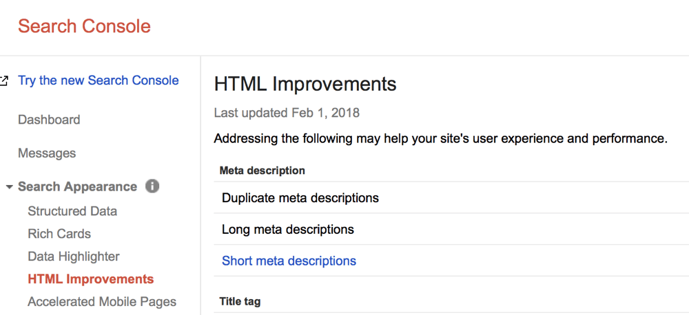 HTML Improvements Report - Google Search Console
