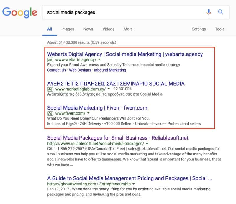 Paid Ads Above Google Search Results