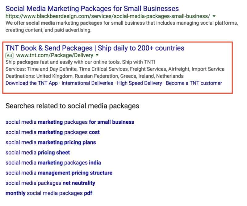 Paid Ads Below Google Search Results