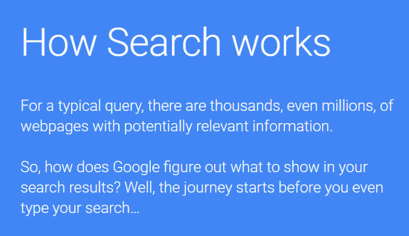 How Search Works by Google