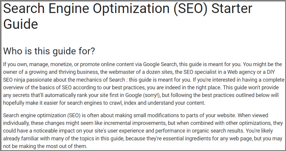 SEO Starter Guide by Google