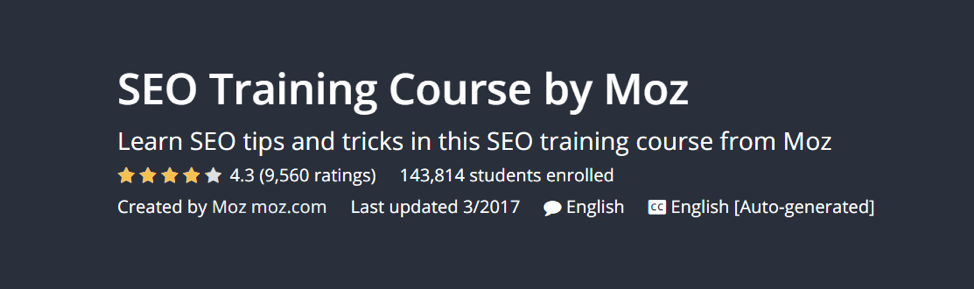 SEO Training by Moz