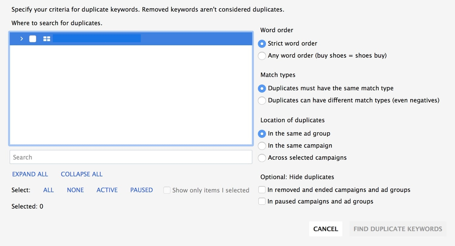 Duplicate Keyword Tool in Google Adwords Editor