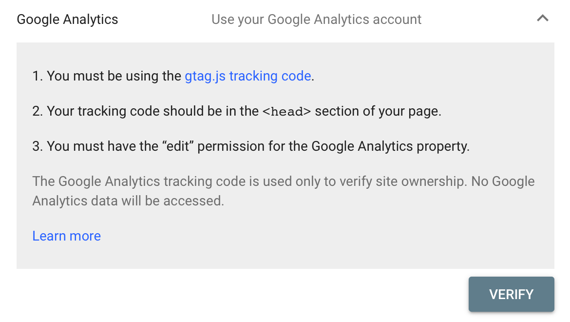 Verify Ownership with Google Analytics