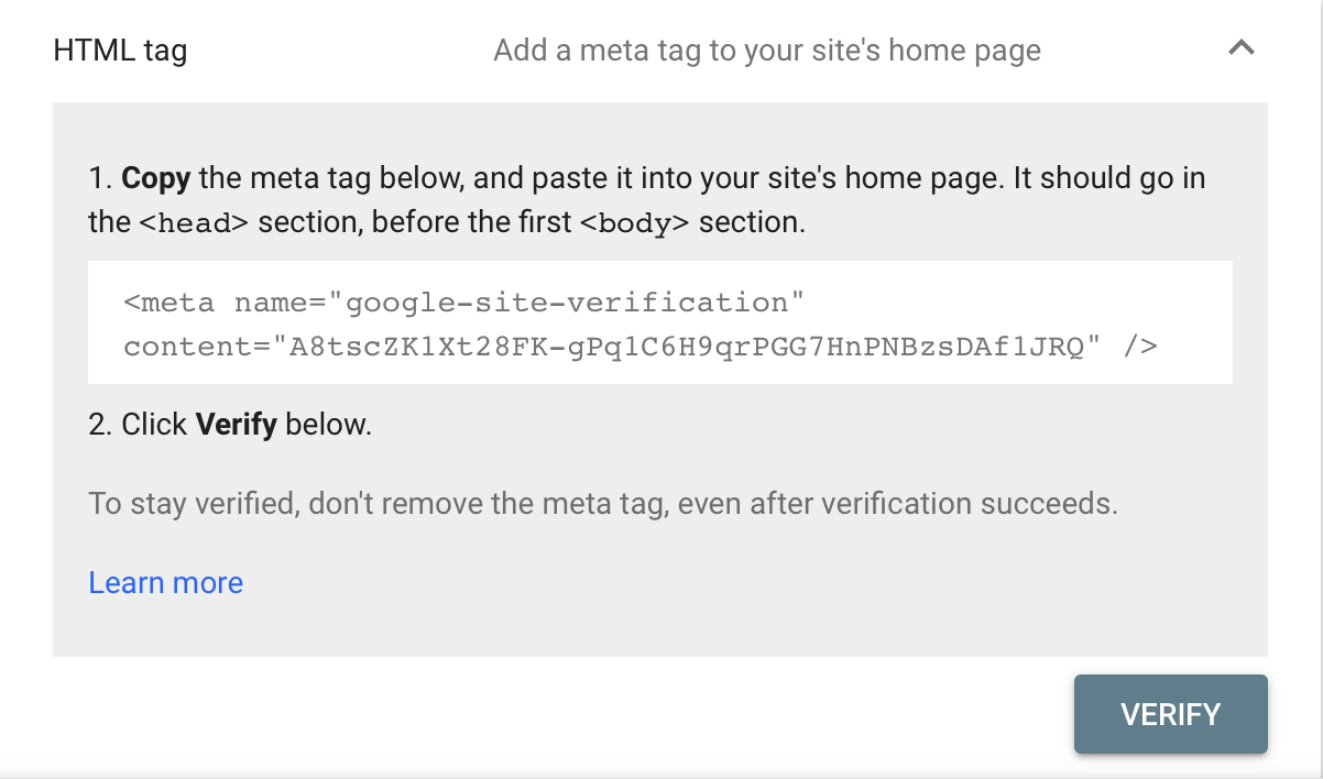 Verify Ownership with HTML Tag