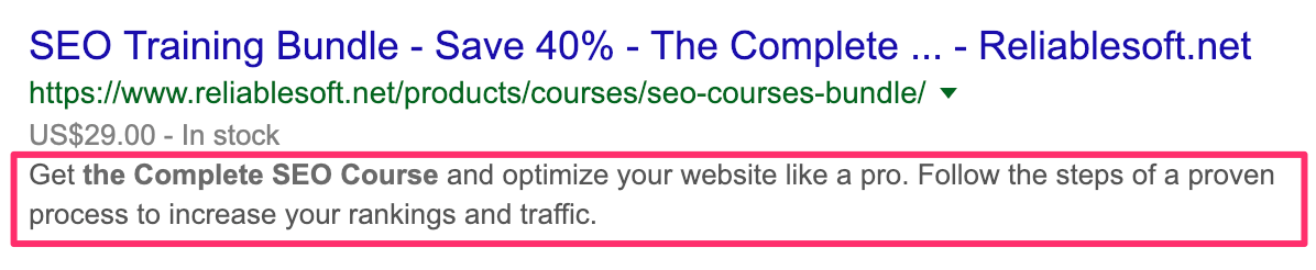 Landing Page Meta Description Example