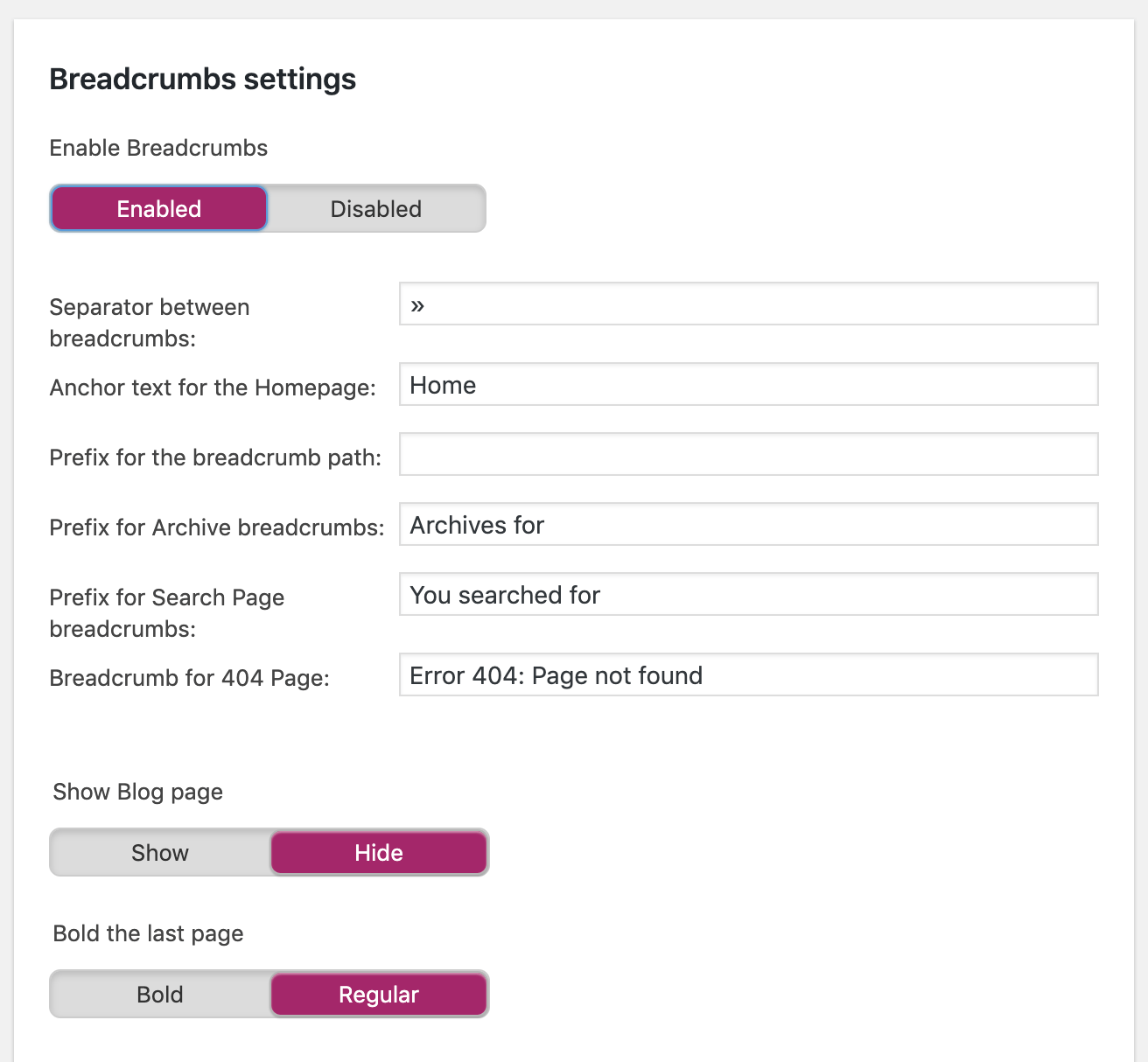Breadcrumb Settings in Yoast SEO