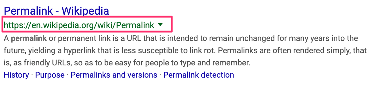 Permalinks in Google Search Results