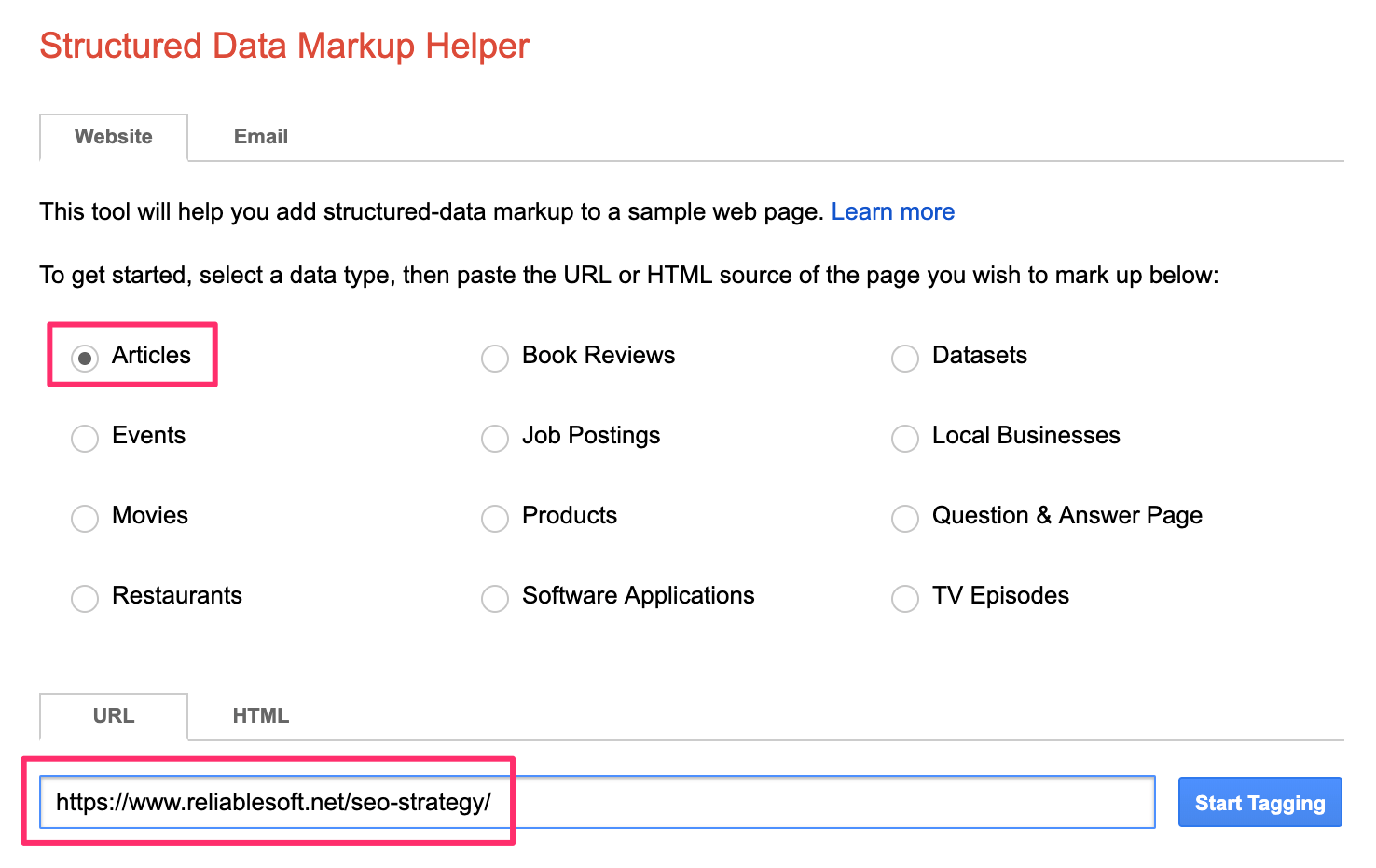 Google Structured Data Markup Helper Tool