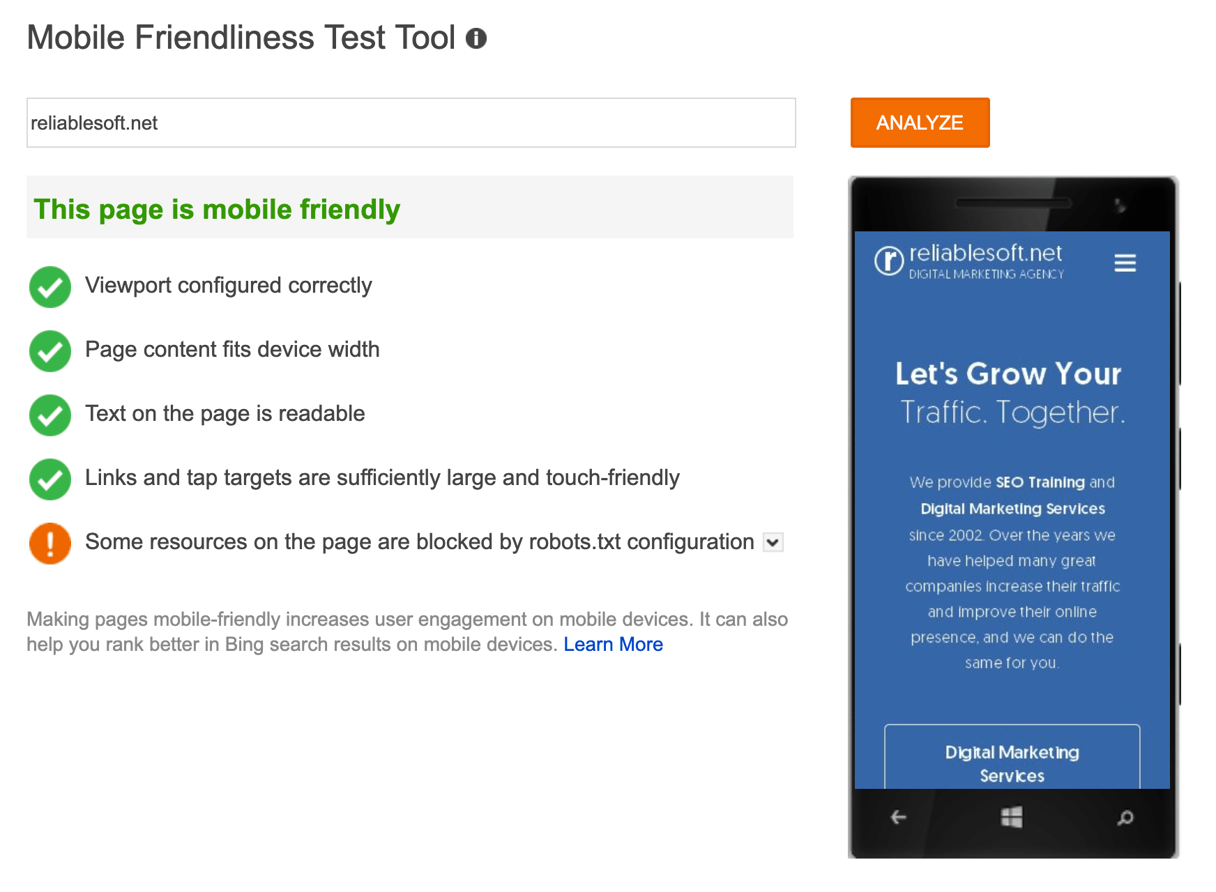 Bing Mobile Friendly Test Tool