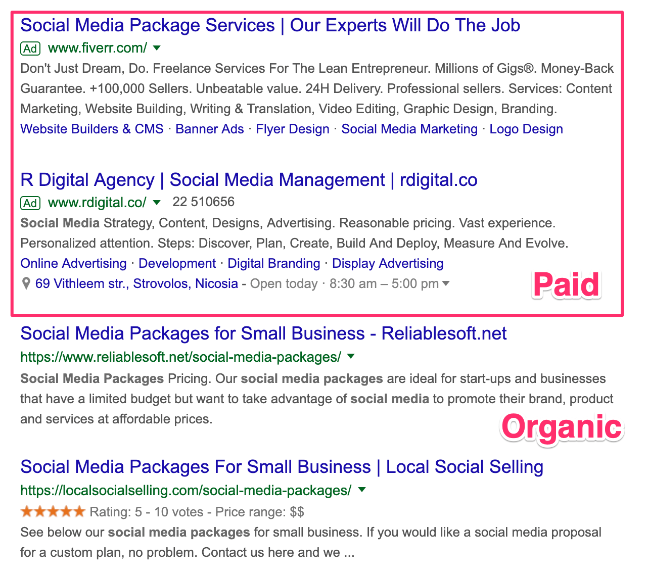 Paid and Organic Results in Google Search