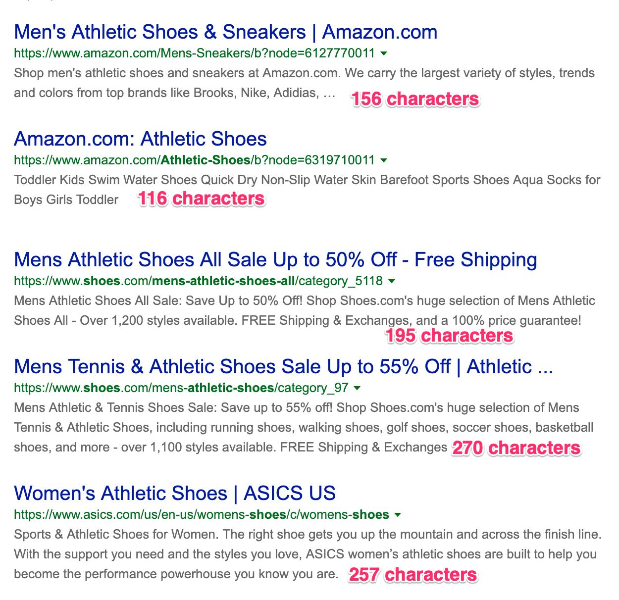 Average meta description length on Bing Desktop Search Results