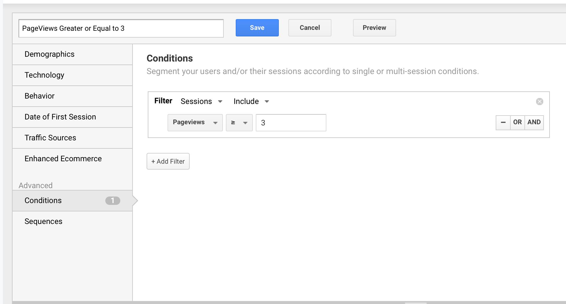More than 3 Pageviews Custom Segment