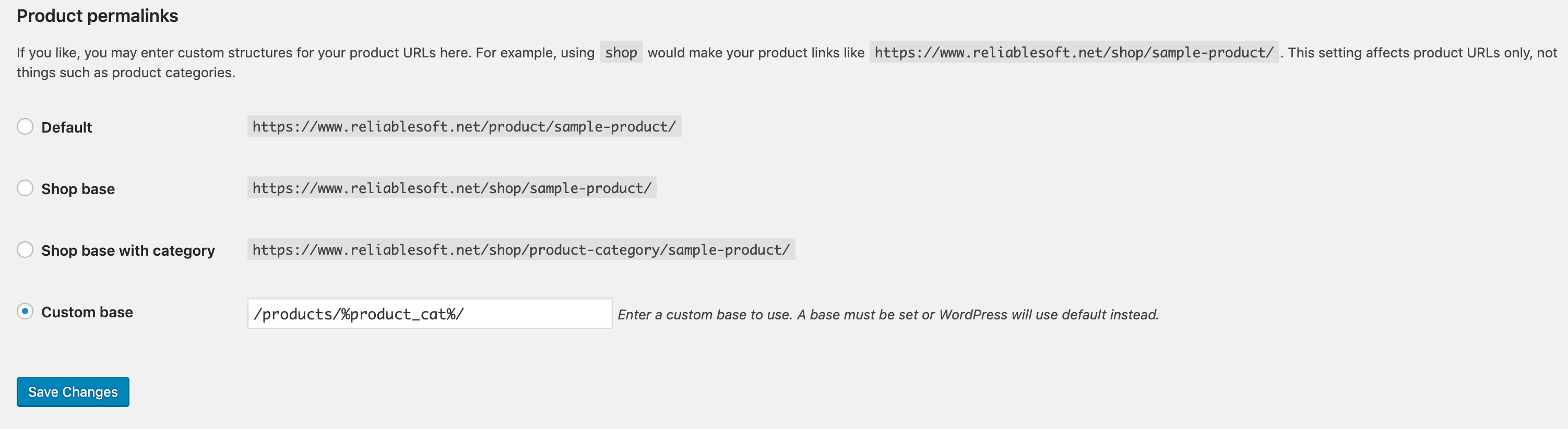 WooCommerce Permalink Settings