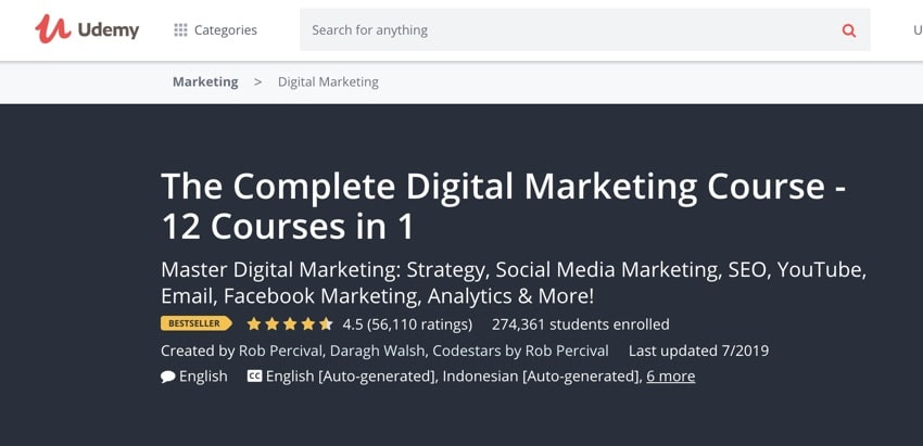 Udemy Digital Marketing-cursussen