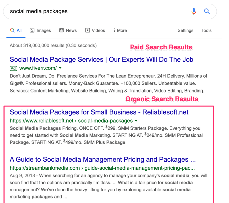Organic Search Results VS Paid Search Results