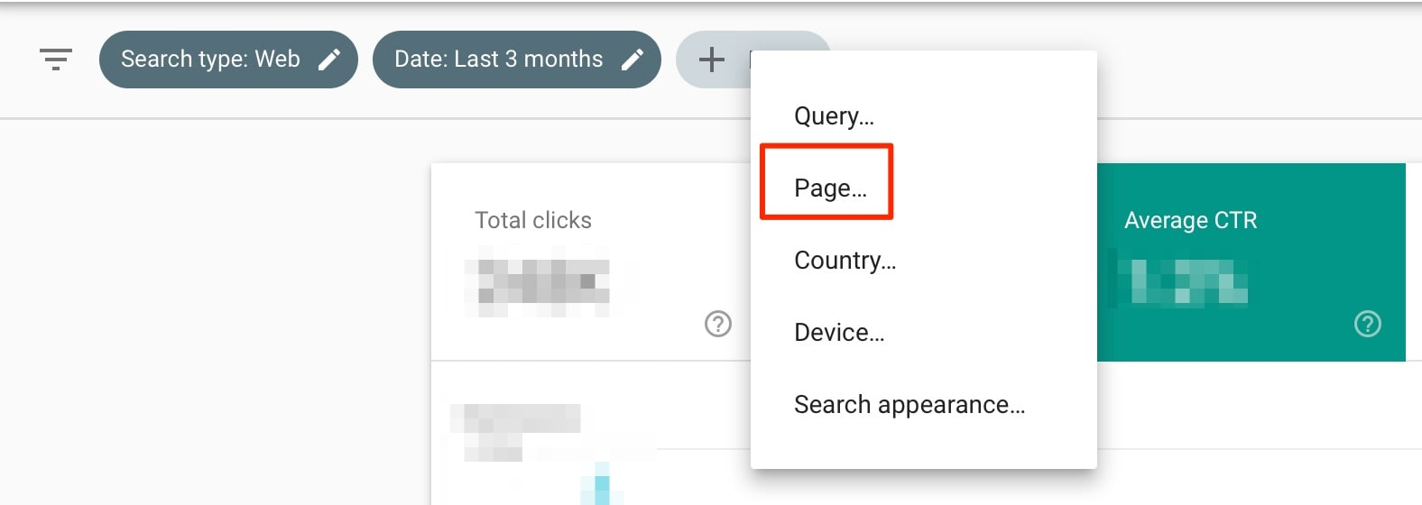 Page Filter in Google Search Console