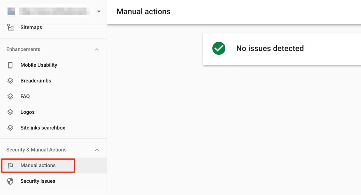 Google search console Security & Manual actions report