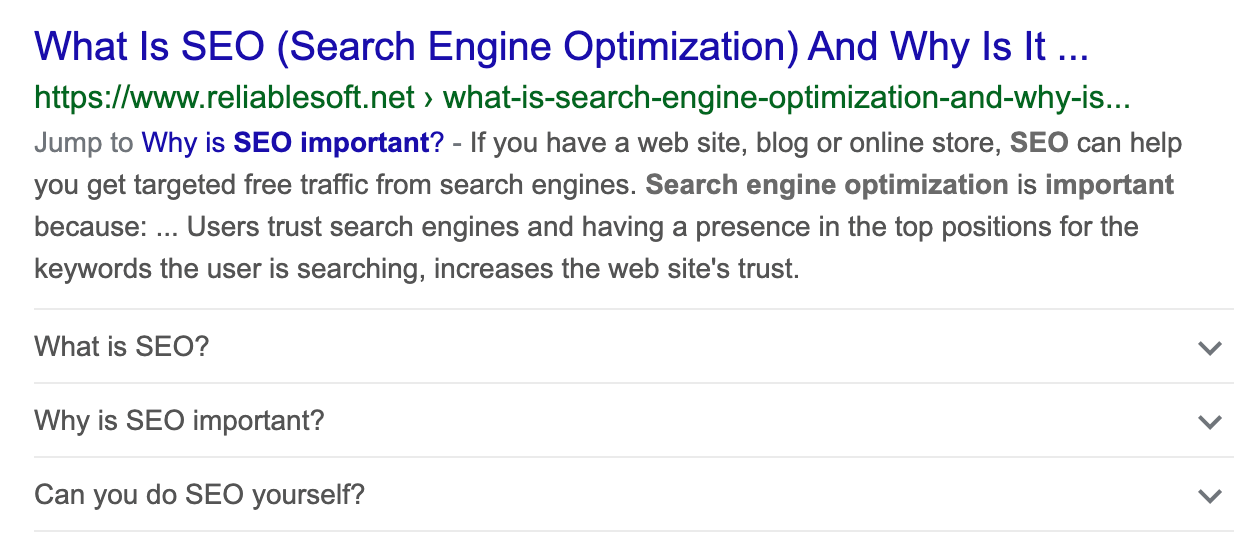 FAQPage Schema in Google Search Results