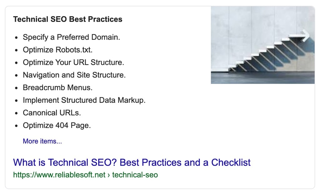Google snippet with a list