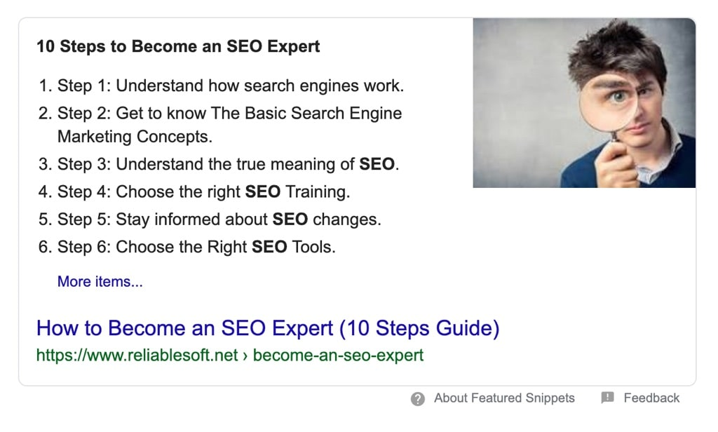 Lists Posts in Google Featured Snippet