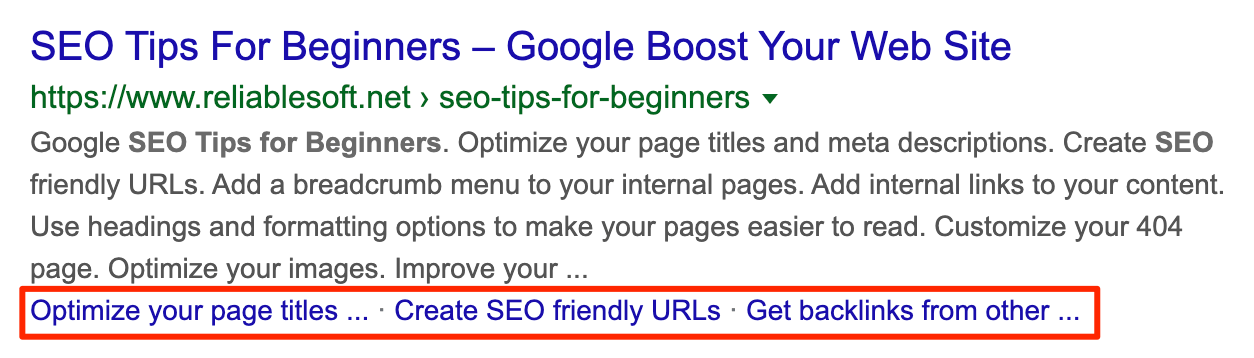 Post sitelinks in Google Search Results