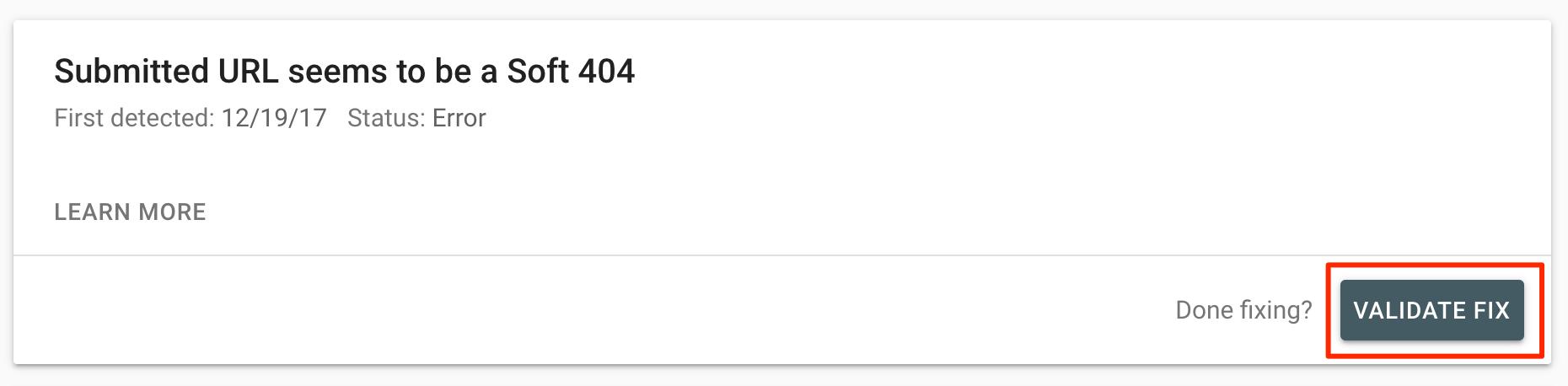 Validate Fix Soft 404 error