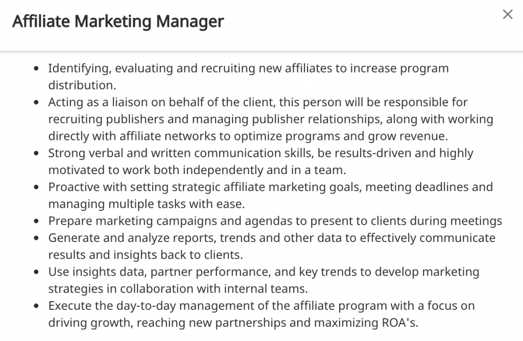 Affiliate Marketing Manager Job Requirements