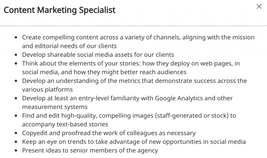 Content Marketing Job Posting