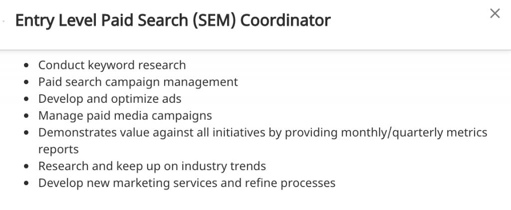 Entry Level SEM Professional Job Posting