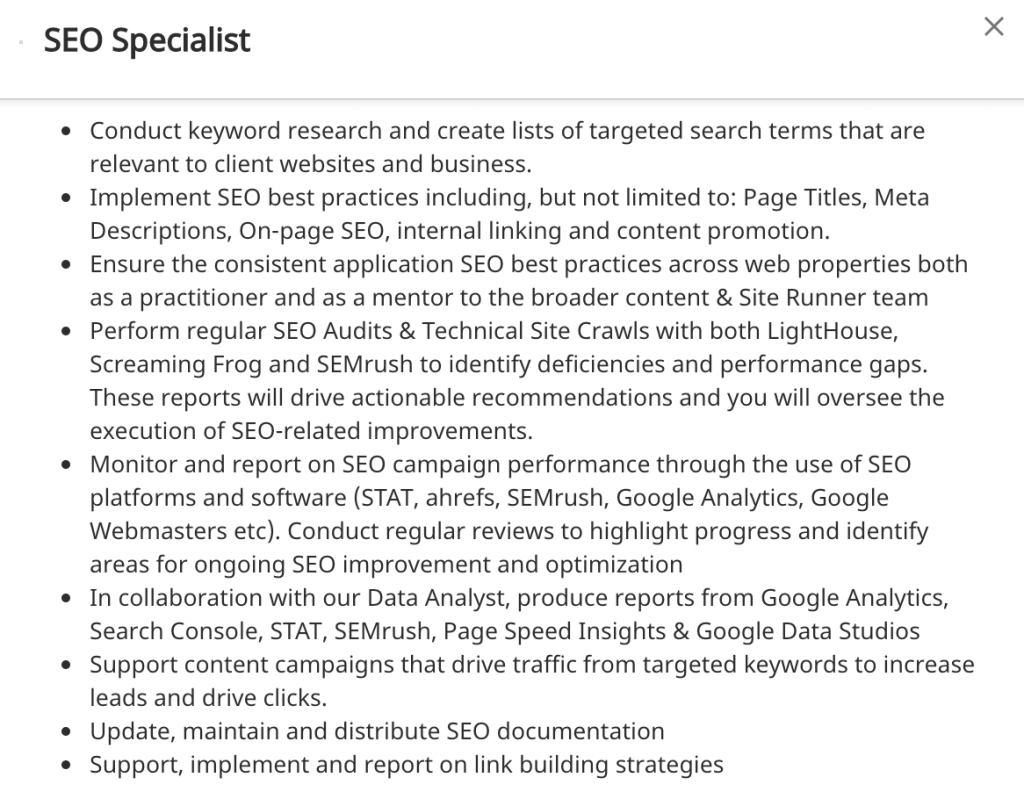 SEO Specialist Job Posting