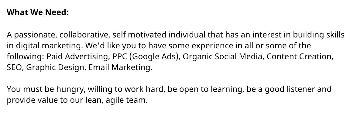 Digital Marketing Job Requirements Example