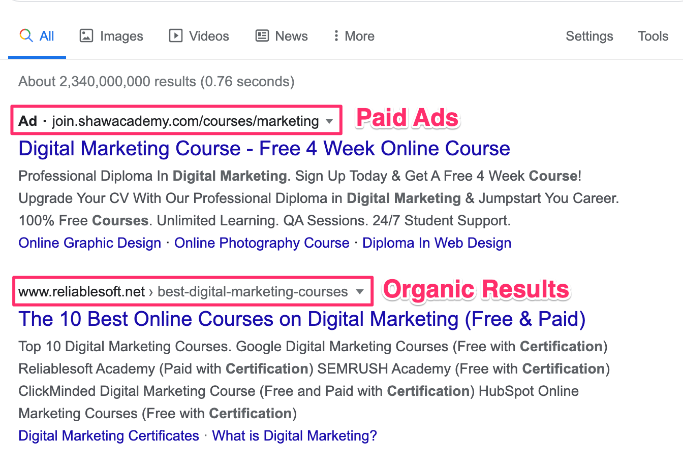 Paid Ads in Google Results