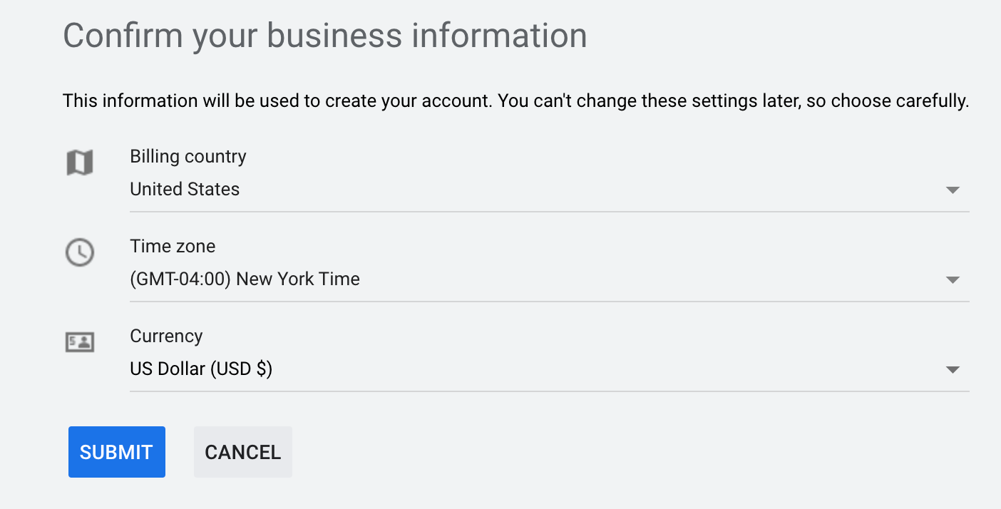 Confirm your Business Information.
