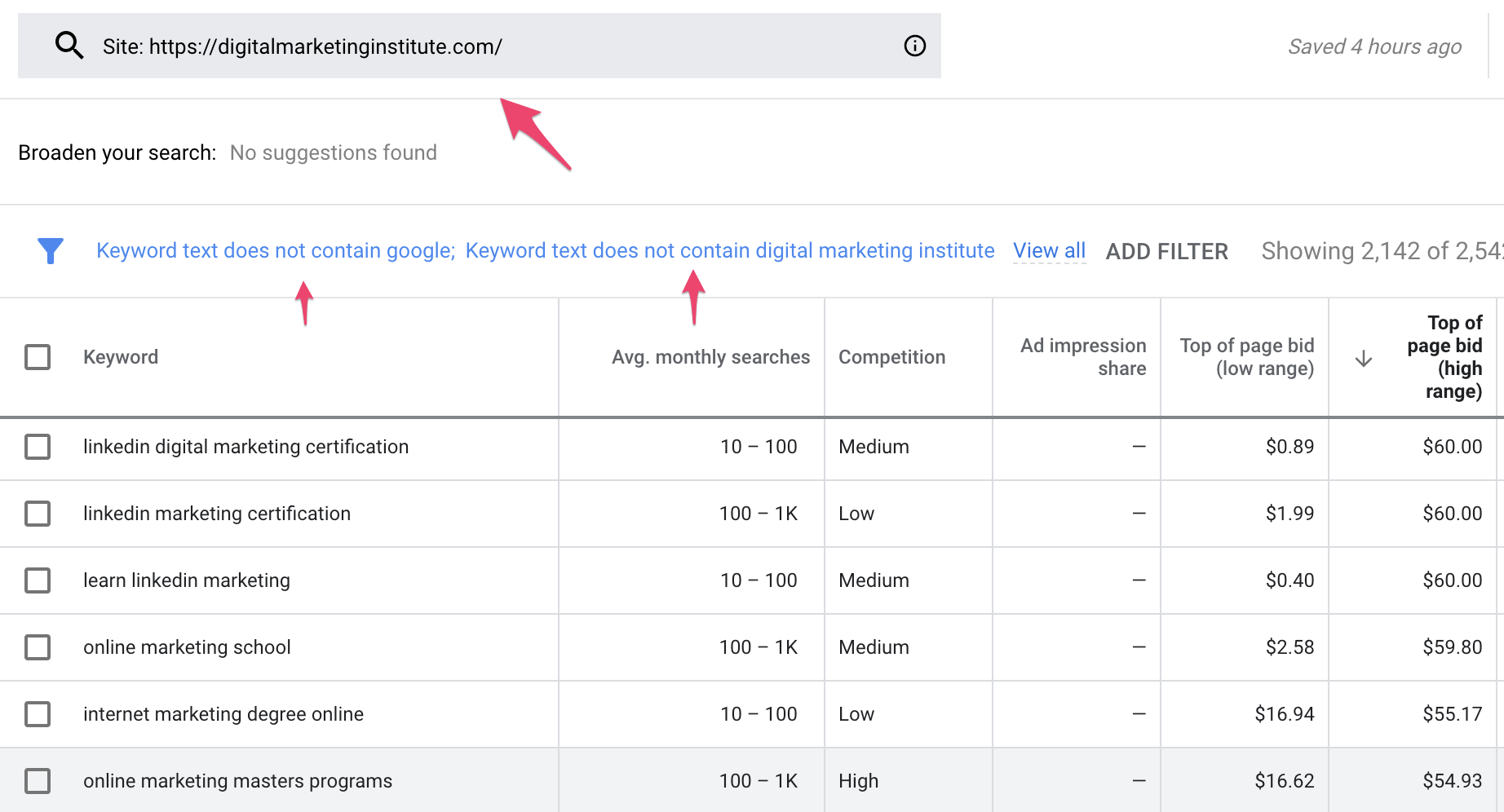 Exclude Keywords with filters.