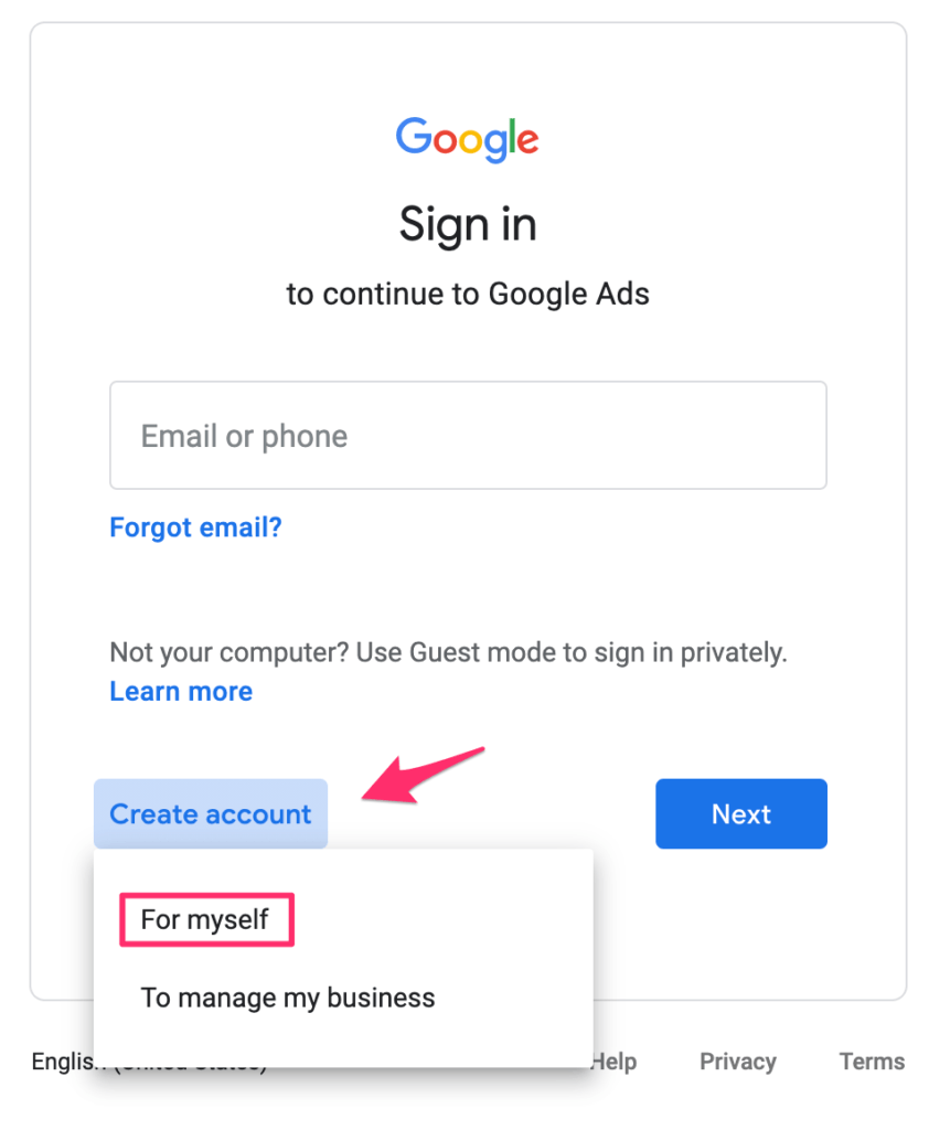 Create New Google Planner Account