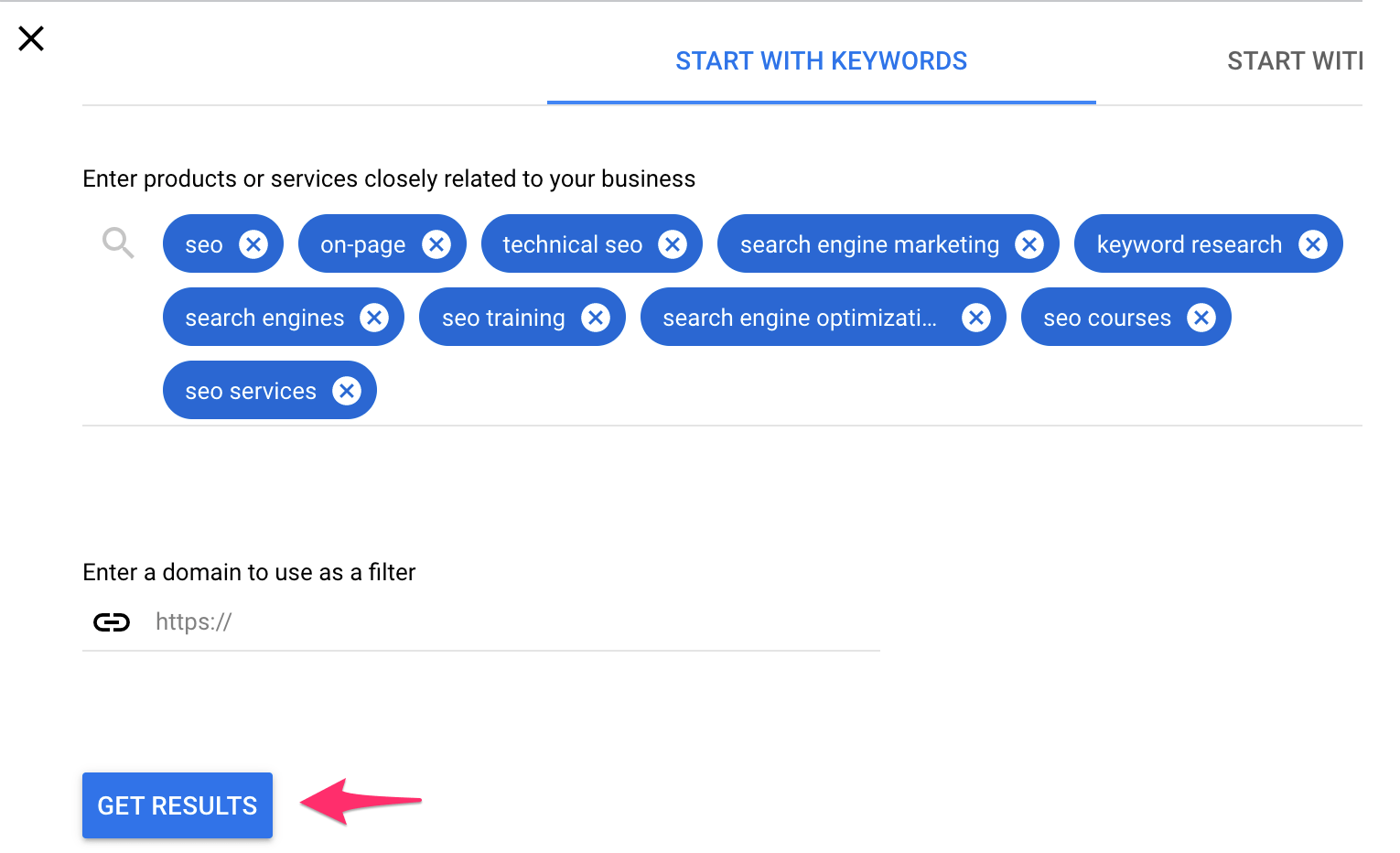 """Start with Keywords"" tool."