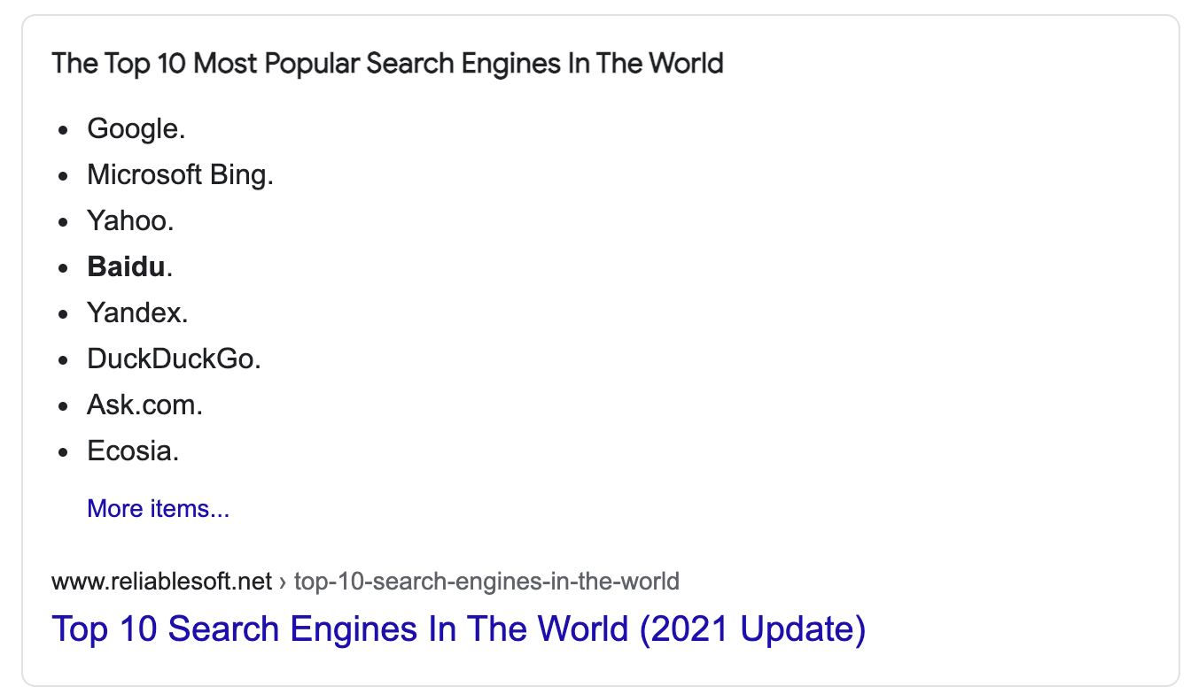 Example of a Listicle in Google Search Results