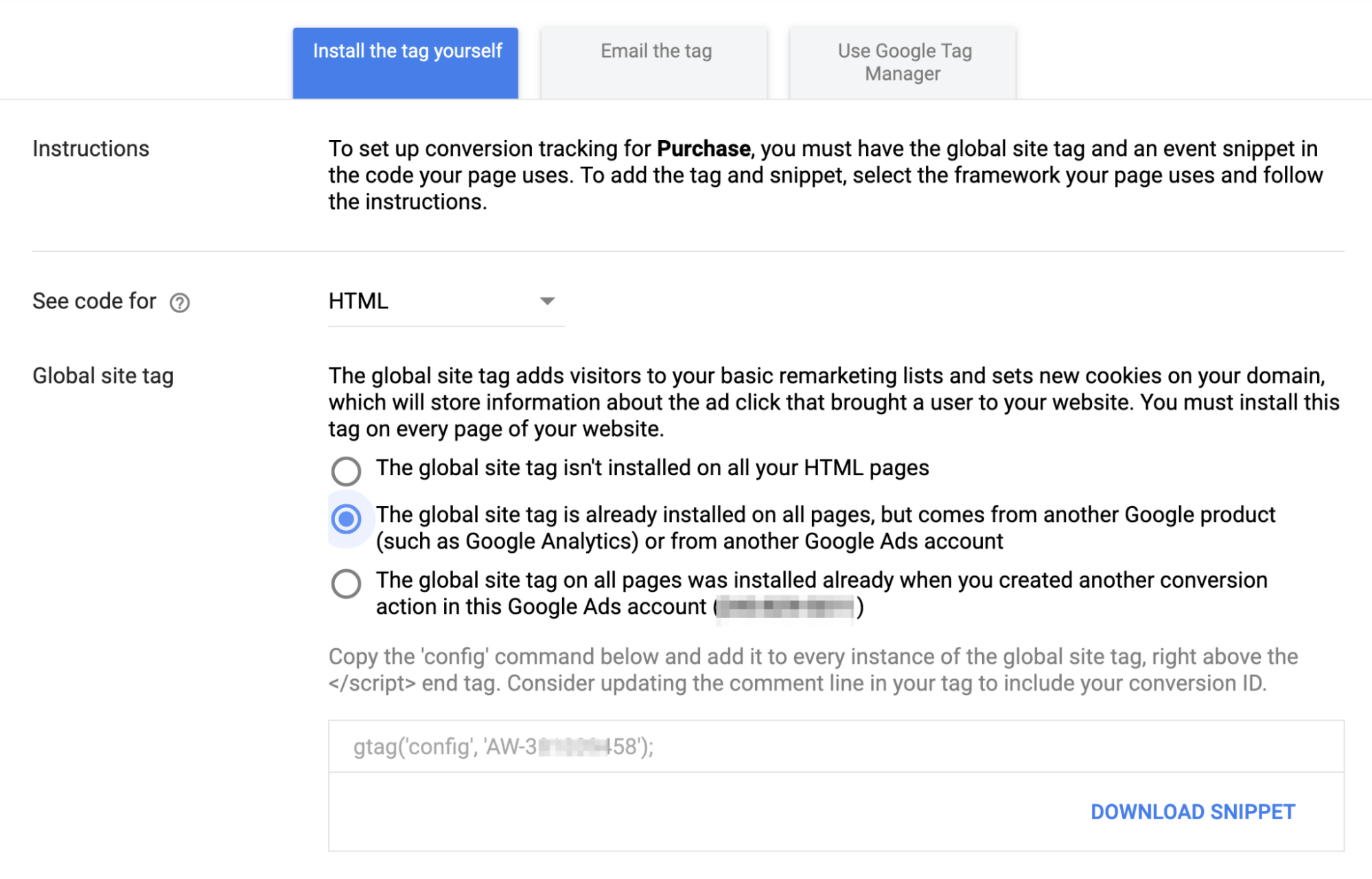 Google Ads Tracking Code Installation Instructions