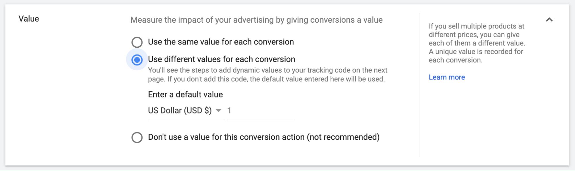 Google Ads Conversion Value Options