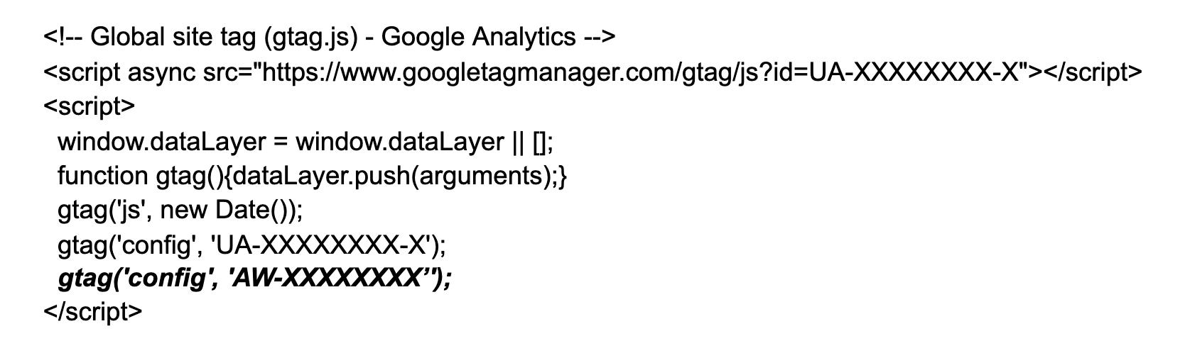 Google Ads Code in Google Analytics