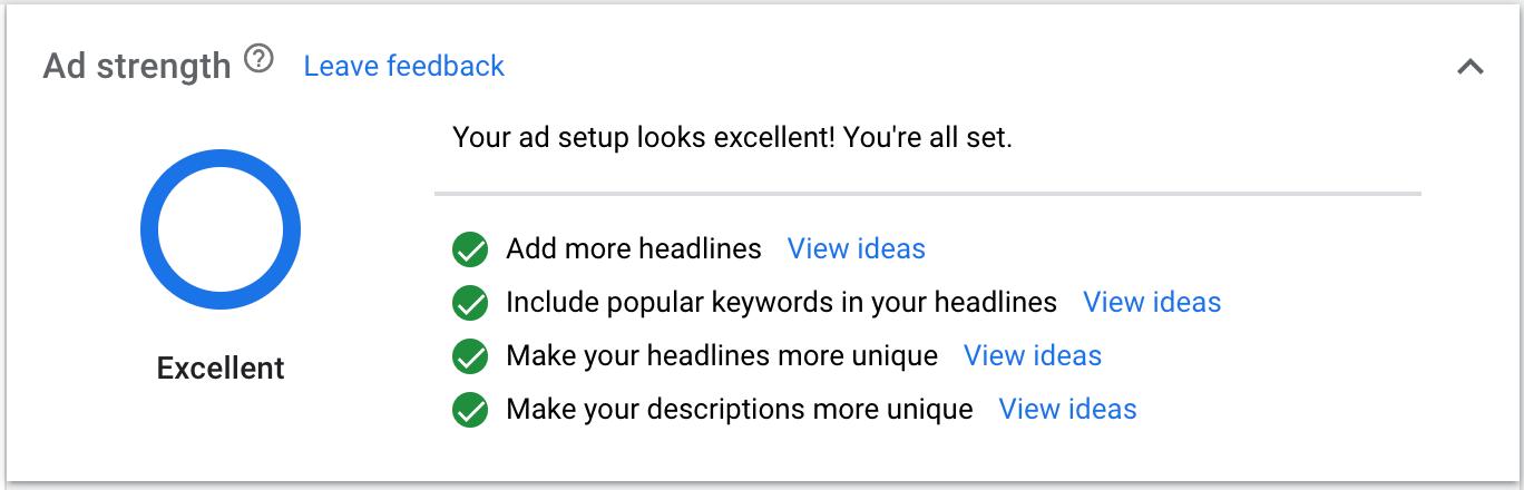 Google Ad Strength Report