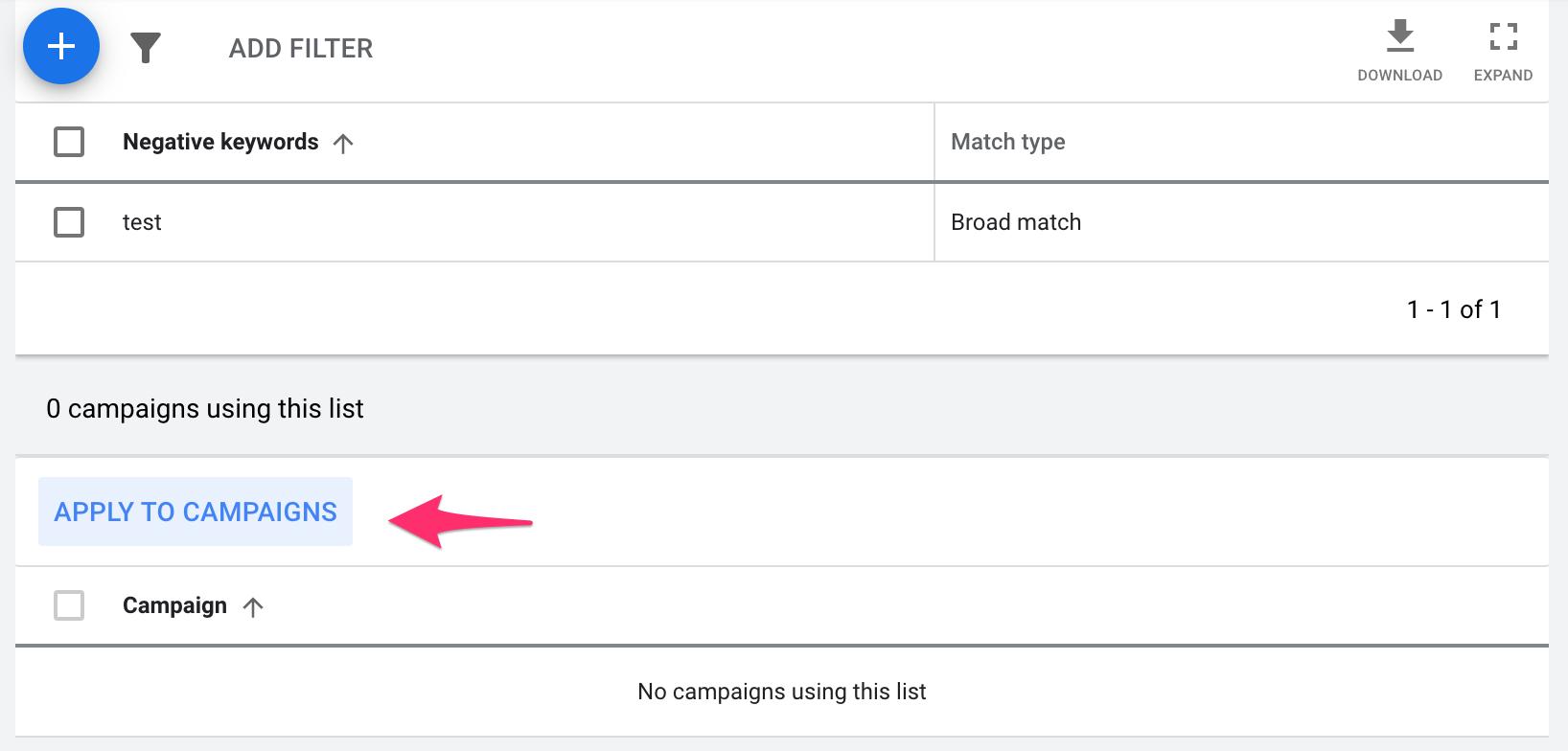 Add a Negative Keyword List to Campaigns
