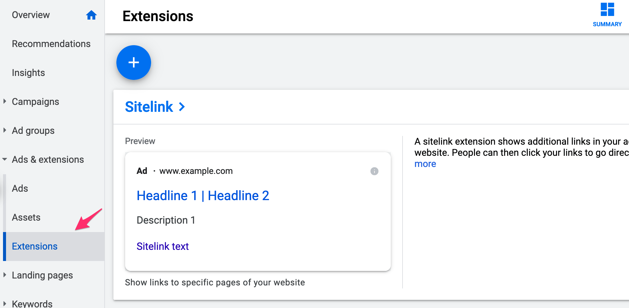 Ad Extensions Option