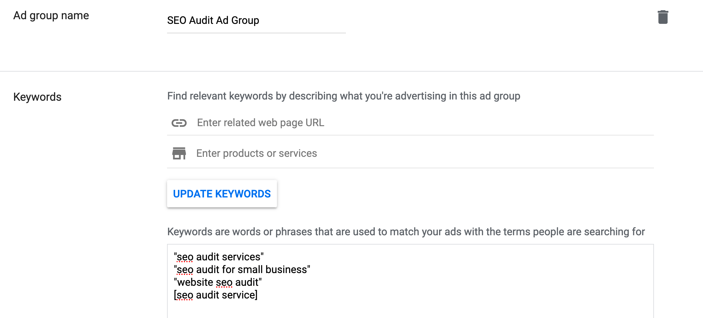 Choose keywords for your search campaign.