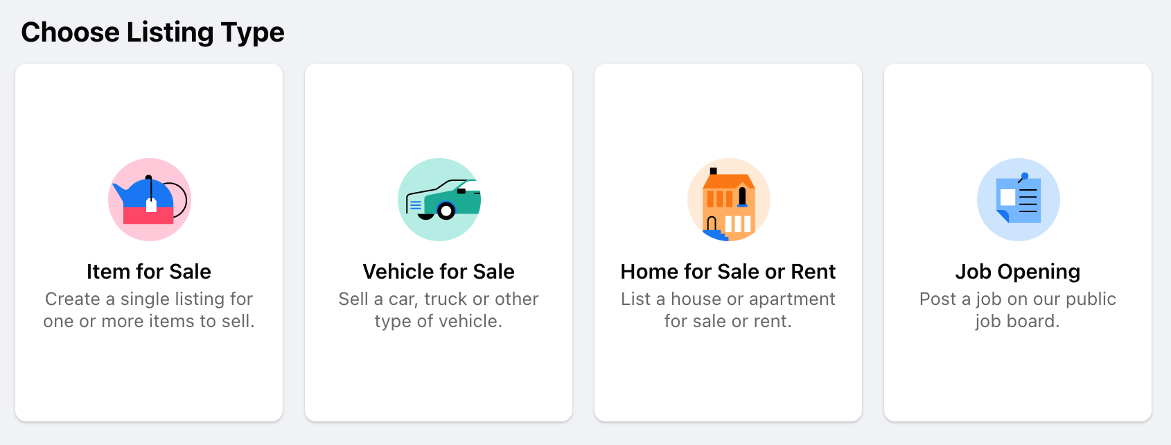 Facebook Marketplace Product Types